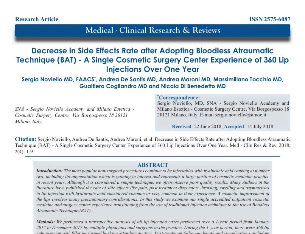 Filler Labbra con BAT: Studio sulla rivista Medical-Clinical Research & Reviews